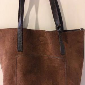 Brown Suede man made leather tote